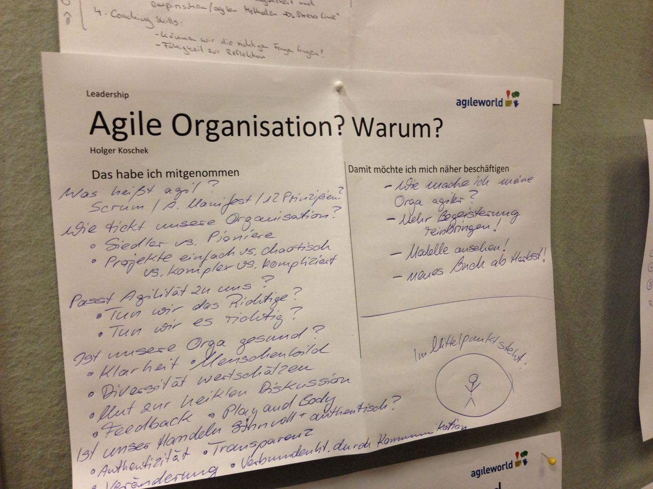 """Mitschrift meines Vortrags """"Agile Organisation? Warum?"""" auf der Agile World 2014"""
